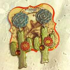 Metal Cactus And Flower Earrings New With Tag
