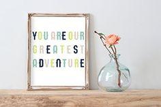 Modern Nursery Art Print Green   8.5 x 11   You Are Our Greatest Adventure   Wall Decor