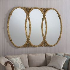 Gold Oval Wall Mirror - x - available to buy online or at Choice Furniture Superstore UK on stockist sale price. Get volume - discount with fast and Free Delivery. Ornate Mirror, Oval Mirror, Beveled Mirror, Oval Frame, Gold Mirrors, Mirrored Wardrobe Doors, Velvet Headboard, Wall Accessories, Mirror Tiles