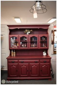 Marsala 2015 Color Of Year Hutch Makeover By FunCycled Www.funcycled.com