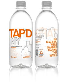 We purify and bottle New York City's famous tap water, leaving out the malarkey and far journey included in other bottled waters. Description from thedieline.com. I searched for this on bing.com/images