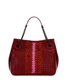 Intrecciato+Chain-Handle+Tote+Bag,+Wine+Colorblock+by+Bottega+Veneta+at+Neiman+Marcus.