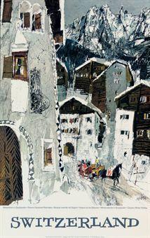 SWITZERLAND  by WETLI, HUGO (1916-1972) depicting a village in the Engadin, Canton Graubünden