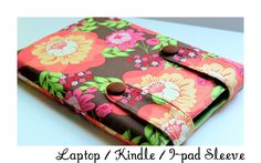 lots of sewing tutorials including: Kindle sleeve, hooded baby towel, travel neck pillow, bowl covers, gathered camera strap cover, kid's car cozy, rick rack tissue holder, fabric notepad holder and basics for piping and bias tape