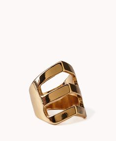 A ring featuring a cutout chevron pattern. High polish finish. Lightweight