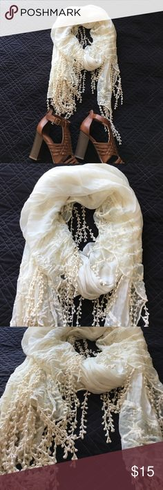 Delicate pearl lace scarf Feminine off white colored scarf. Fringe detail and beautiful lace work. Accessories Scarves & Wraps
