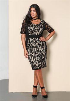 Plus Size Brocade Mesh Trim Bodycon Dress