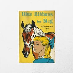 Kids Horse Adventure   Blue Ribbons for Meg   Scholastic Teen Read   Calvary Post Story   Girl Yellow Paperback   60s Vintage Childrens Book