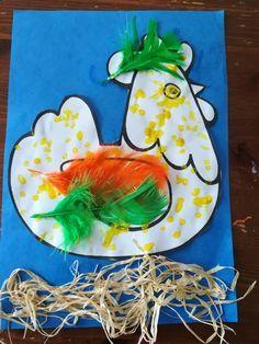 poule pâques peinture au coton tige et plume