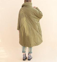 Women Loose Large size Bat sleeve padded coat от MaLieb на Etsy