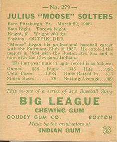 1938 Goudey Heads-Up (R323) #279 Moose Solters Back