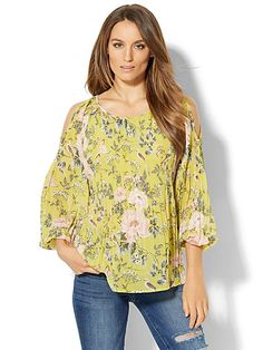 Pleated Cold-Shoulder Blouse - Botanical Print  - New York & Company