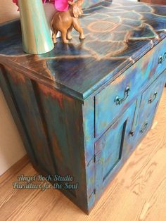 Shades of Blue-Unicorn SPiT Cabinet Makeover