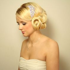 Modern vintage wedding hair style for short   to medium length hair with crystal hair comb