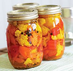 Pickled Cauliflower with Carrots and Red Bell Pepper - I make a version of this without the pepper, plus onion. It's fantastic and if you make up a big batch of the spice mixture and keep it in a jar, you can pop together a few jars of these when you've got extra cauli!