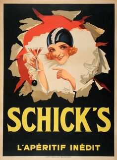 SCHICK'S - LADY IN BEIGE - ORIGINAL VINTAGE POSTER CIRCA 192