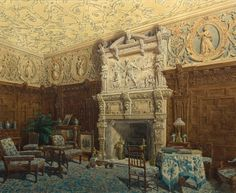 Hughson Hawley (1850-1936)  —  The Carved Parlour, Crewe Hall, Cheshire,1915   (1024x839)
