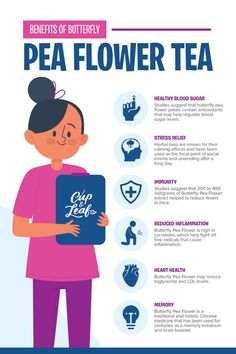 Butterfly pea tea features a brilliant blue color that changes to red or purple with a slice of lemon or a few hibiscus petals. Discover beauty with butterfly pea flower tea and learn how to brew it. Tea Benefits, Health Benefits, Health Tips, Butterfly Pea Flower Tea, Brain Healthy Foods, Turmeric Tea, Types Of Tea, Herbal Tea, Detox Tea