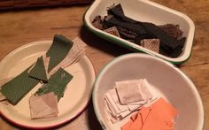 three bowls each with the strips, squares, triangles, etc. to make three little primitive quilts to share with all of you. All People Quilt, Primitive Quilts, Bowls, Third, Triangles, Tableware, Minis, Serving Bowls, Dinnerware