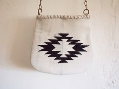 Cross body bag, boho style made with white leather and old copper chains on Etsy, $89.00