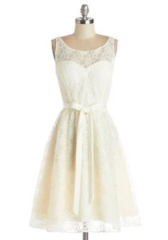 Simply Divine Dress - Wedding, Bride, White, Solid, Lace, Belted, Special Occasion, A-line, Sleeveless, Woven, Better, Scoop, Mid-length, La...