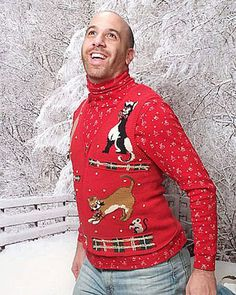 I have a picture of my husband in this same pose wearing the ugly Christmas sweater I made him last year. Sorry, but my custom sweater totally kicked this one's butt!