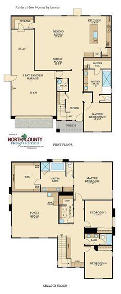 New homes in Escondido. Pradera floor plans.
