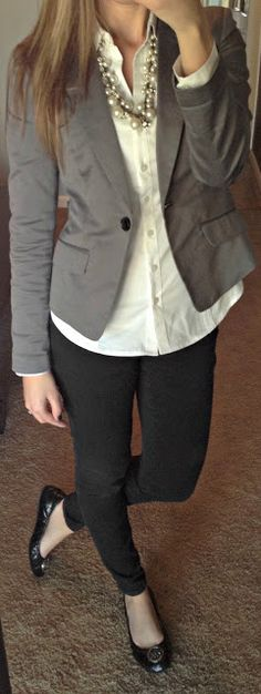 Work Outfit (slim black pants with a white button-down, blazer, and necklace)