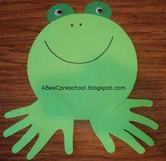 A, Bee, C, Preschool: Handprint Frog Frog Crafts, Vbs Crafts, Preschool Crafts, Crafts For Kids, Preschool Ideas, Frog Activities, Activity Games, Math Games, Frog Theme