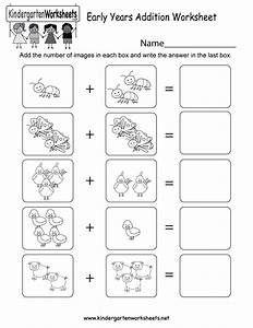 Early Years Addition Worksheet Free Kindergarten Math Di 2020