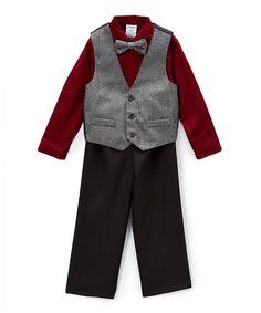 Gray Herringbone Vest Set - Toddler & Boys