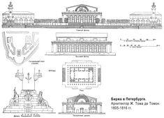 Plans de la Bourse et de l'ensemble architectural conçu par jean François Thomas de Thomon en 1805 pour l'Île Vassilievski - Saint Petersbourg