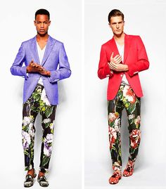 Not all men are comfortable in clothes with flowers or strong colourful patterns. But this is something I could wear and look good in it! Specially the red style. Style Pantry | Tom Ford Spring 2014 Menswear Collection