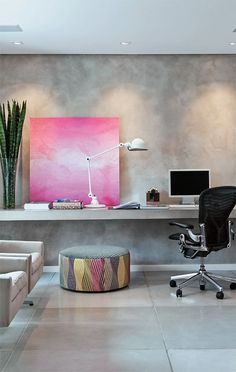 minimal workspace with dreamy original contemporary painting and recessed lighting