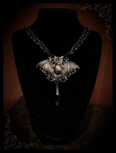 Gothic Necklace Bat Necklace Steampunk Antique Brass Filigree Bat Black Bead Chain Goth Jewelry Necklace.