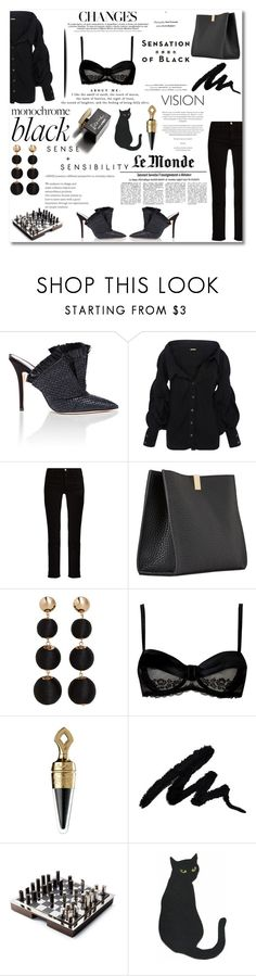 """Mission Monochrome: All-Black Outfit"" by nina-lala ❤ liked on Polyvore featuring Andrea Mondin, Johanna Ortiz, Balenciaga, MANGO, Vision, Chantal Thomass, D&G, Guerlain, Ralph Lauren Home and allblackoutfit"
