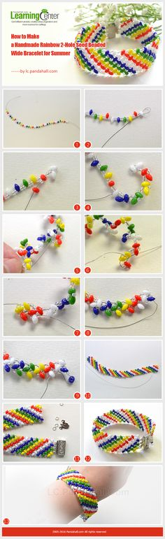 Tutorial on How to Make a Handmade Rainbow 2-Hole Seed Beaded Wide Bracelet for Summer from LC.Pandahall.com