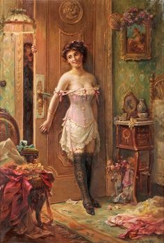 Hans Zatzka The Amorous Visitor print for sale. Shop for Hans Zatzka The Amorous Visitor painting and frame at discount price, ships in 24 hours. Victorian Paintings, Victorian Art, Victorian Women, Victorian Corset, Romantic Paintings, Classic Paintings, Art Magique, Retro Mode, Classical Art