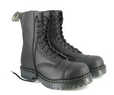 8 eye combat boot with a steel toe - Vegan Boots - Mooshoes Old Shoes, Men S Shoes, Lace Up Boots, Black Boots, Vegetarian Shoes, Combat Boots Style, Vegan Boots, Hard Wear, Goodyear Welt