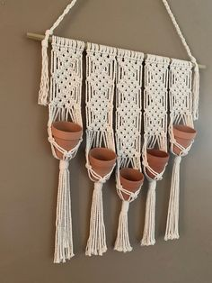 Your place to buy and sell all things handmade Wall Plant Hanger, Pot Hanger, Macrame Wall Hanging Patterns, Macrame Patterns, Bohemian Wall Decor, Macrame Design, Macrame Projects, Hanging Planters, Wall Planters