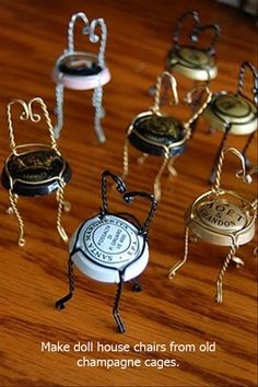 Craft and DIY Ideas- champagne cage doll chairs