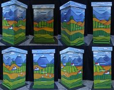 "Painted Wooden Bee Hive Box - For Maple Valley Farmers' Market 2013; Donated By: Bees in the 'Burbs (owner: Norman Holcomb); Artist: Nicole Notch; ""Happy Bee House"""