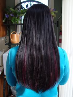 Microbead Hair Extensions in Jet Black and Black WIne~ Long Island Hair Extension Artist  www.hairextensionartistryli.com