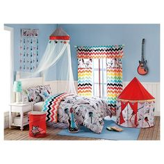 Rock out and enjoy imaginative play time with the VCNY Big Believers Rock Star Pop Up Tent. The cool play tent is decorated with chevron stripes and musical instruments, headphones, and other rock and roll symbols over a stone ground.
