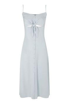 Knot Front Midi Slip Dress