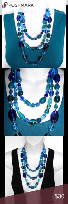 """CERULEAN BLUE GLASS BEADED TRIPLE STRAND NECKLACE This beautiful cerulean blue, glass bead, fine quality CHICOS necklace is great for work and fabulous for a night on the town. Shortest Strand: 16"""" Middle Strand: 18"""" Long Length: 20"""" Jewelry Necklaces"""