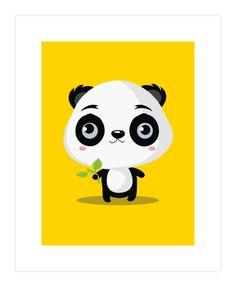 Panda likes bamboo sticks Art Print
