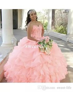 e983ab4ae92 Princess Organza Ball Gown Crystal Quinceanera Dress 2017 Plus Size Tiered  Ruffles Exposed Boning Beads Corset