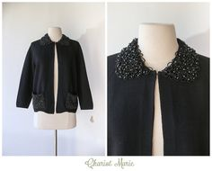 1950's 1960's Black Beaded Cardigan  Vintage Wool by ChariotMarie