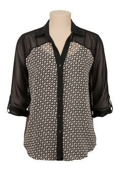 3/4 Sleeve Chiffon Geo Print Blouse (original price, $29) available at #Maurices